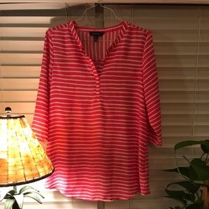 Ellen Tracy Pink with white striped tunic